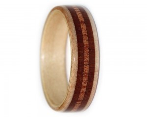 Bentwood wooden ring bands set with mahogany and maple