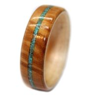 Olivewood with custom wooden rings maple core and turquoise inlay