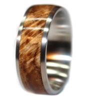 Handmade wooden wedding ring in amboyna burl and stainless steel