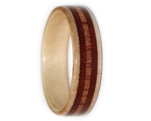 Wood ring mens band with maple, mahogany and rosewood
