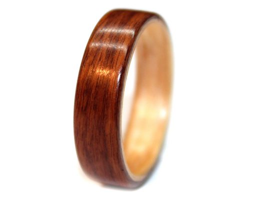 Rosewood bentwood wooden ring band with maple