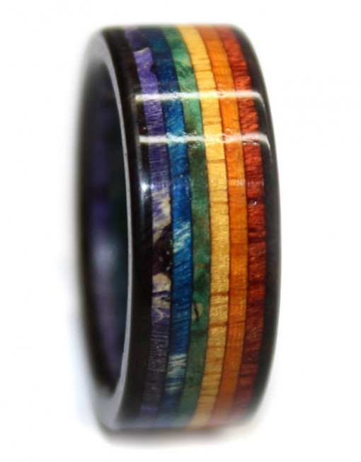 Rainbow wooden ring, layered. bloodwood, rosewood, blackwood, chakte viga,