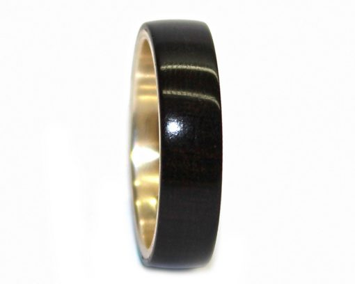 Blackwood and sterling silver wood ring mens