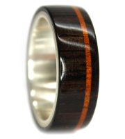 Blackwood and mahogany inlay wood wedding rings set silver