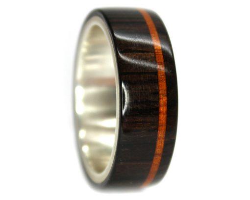 Blackwood and mahogany inlay wood wedding rings set silver