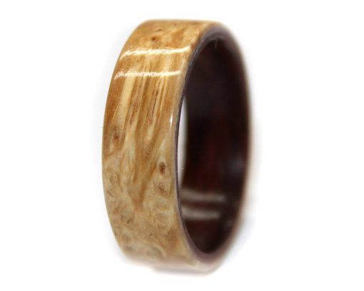 Burl wooden ring band in rosewood for promise ring
