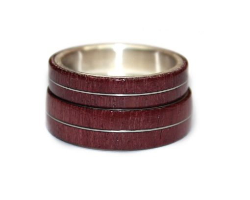 Purpleheart wood with sterling silver inlay wood wedding rings sets