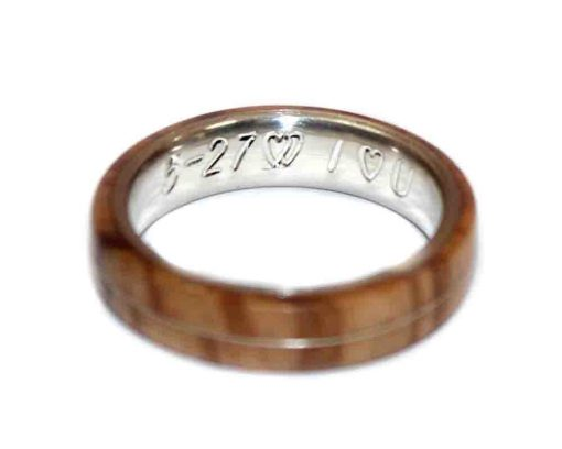 wooden ring engraving I love you date and heart symbol