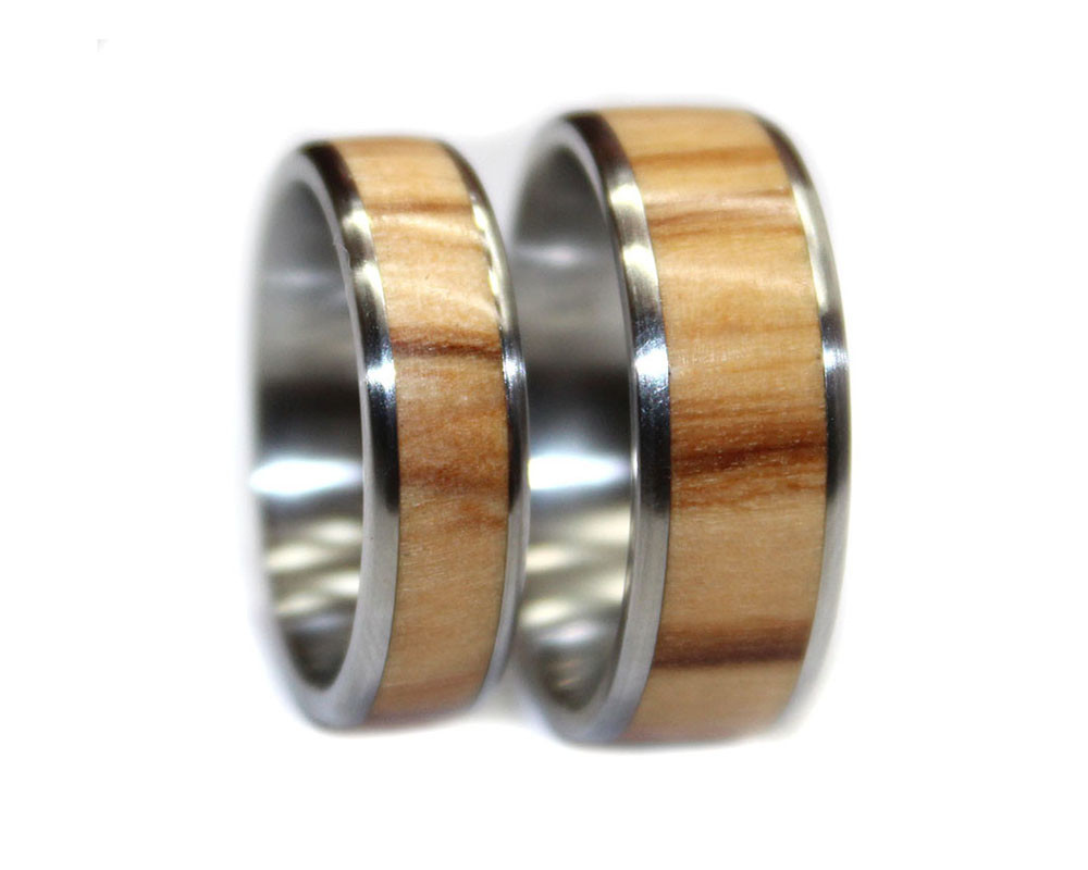 stainless wood engagement rings with olivewood for set for couple - Wood Wedding Ring