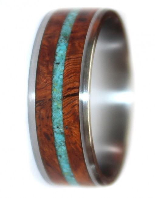 burl crushed turquoise wooden ring with stainless steel core