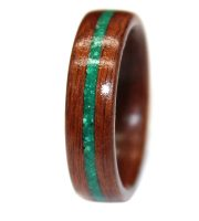 Rosewood with custom wooden ring and turquoise inlay