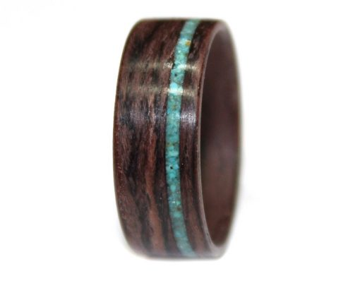 Bolivian Rosewood with Turquoise Inlay Wooden Bentwood Ring