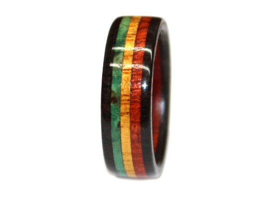 blackwood bloodwood yellowheart and green burl wooden ring rasta colors jamaican flag