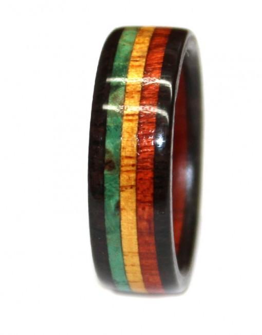 blackwood bloodwood yellowheart and green burl wooden ring rasta colors jamaican flag