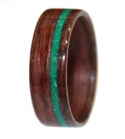 wooden ring of bolivian rosewood and malachite inlay