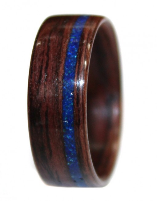 Wooden Ring of East Indian Rosewood and Azurite