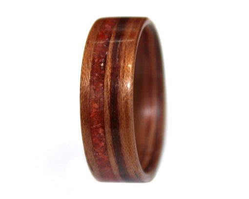 Wooden Ring of Honduran Rosewood and Red Coral Inlay