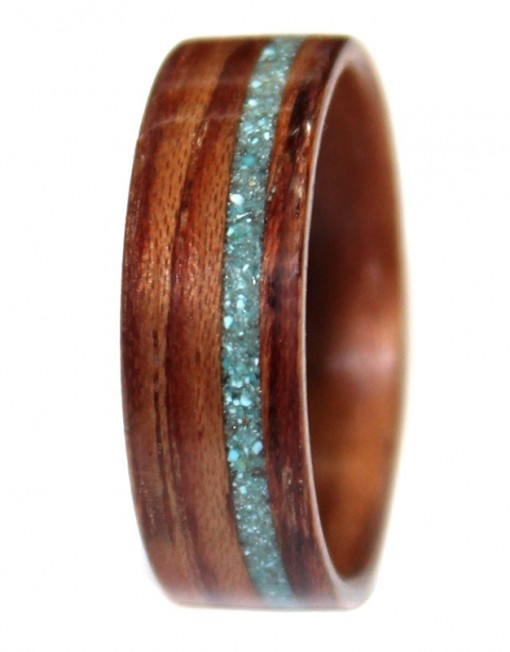 Wooden Ring of Honduran Rosewood and Turquoise Inlay