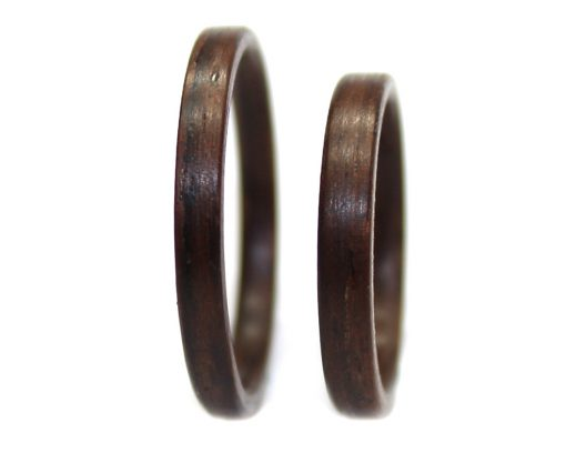 Bolivian Rosewood wood rings set thin bentwood