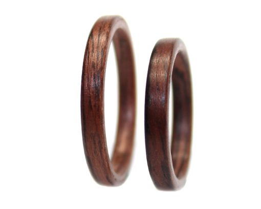 East Indian Rosewood wood rings set thin bentwood
