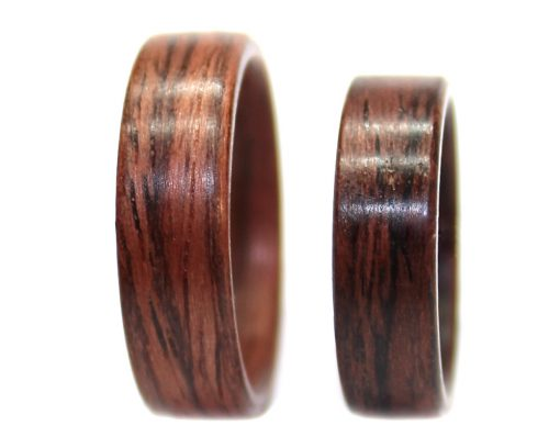 East Indian Rosewood wooden rings set bentwood