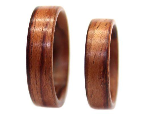 Honduras Rosewood wooden rings set bentwood