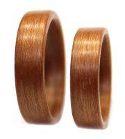 Mahogany wooden rings set bentwood