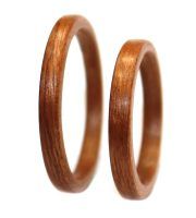 Mahogany wood rings set thin bentwood