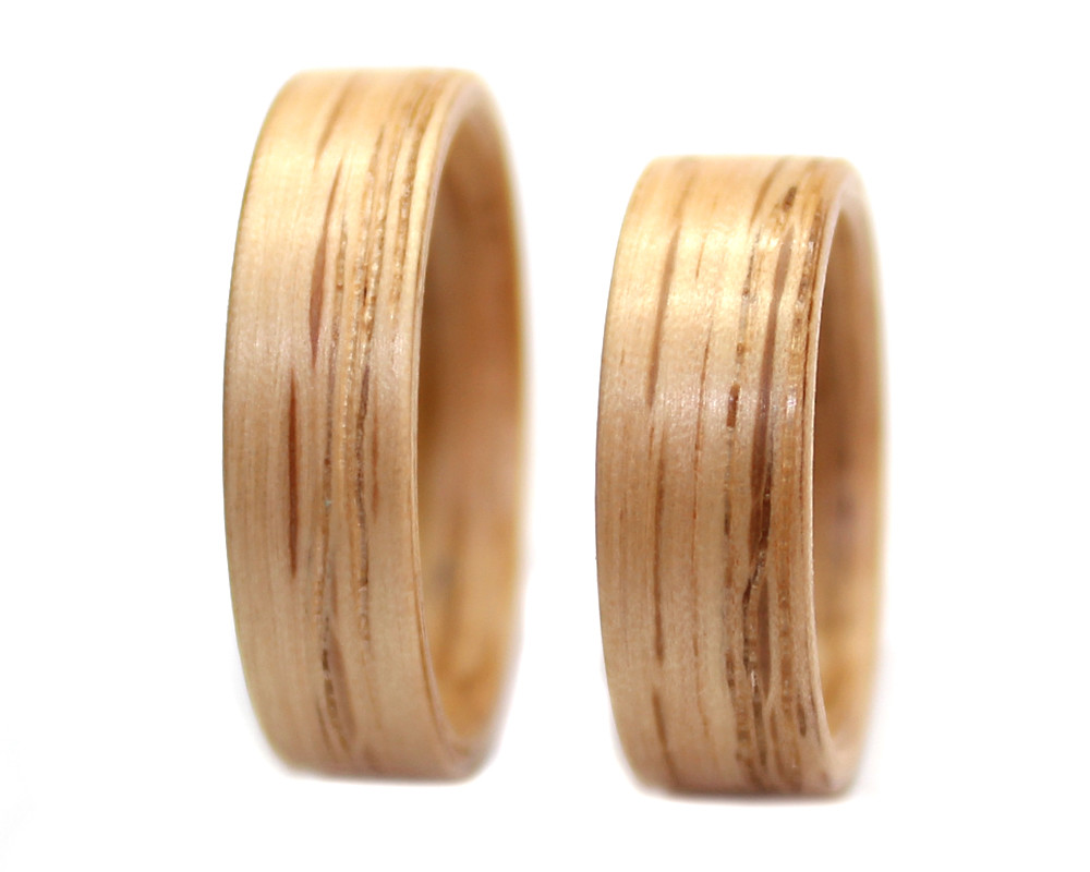 Red Oak wooden rings set bentwood