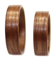Walnut wooden rings set bentwood