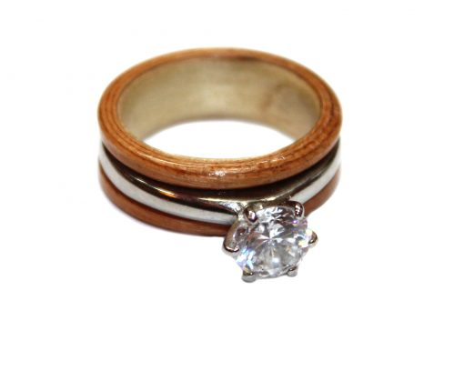 Birch, mahogany and diamond ring