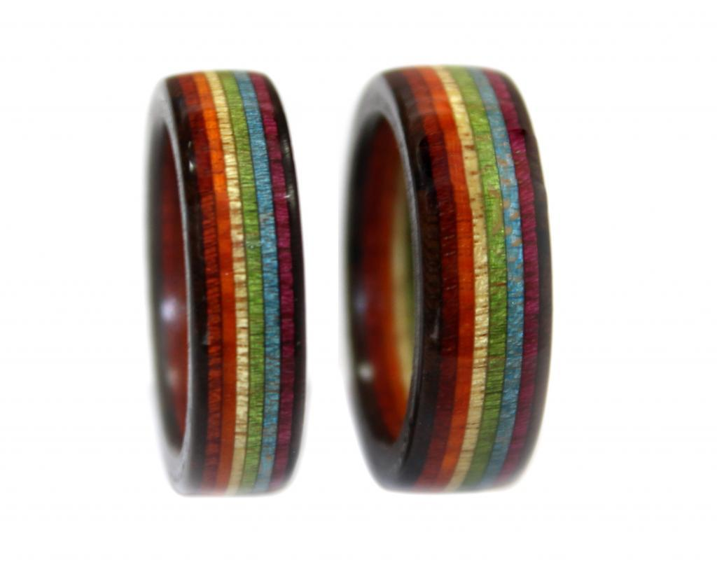 Rainbow wooden ring, layered. bloodwood, rosewood, blackwood, chakte viga, rainbow, pride, gay, lgbt,