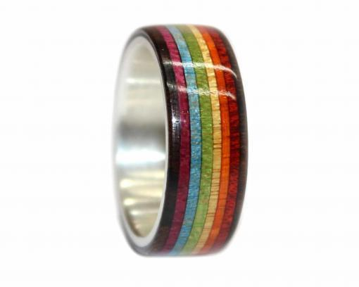 rainbow pride wooden wedding ring