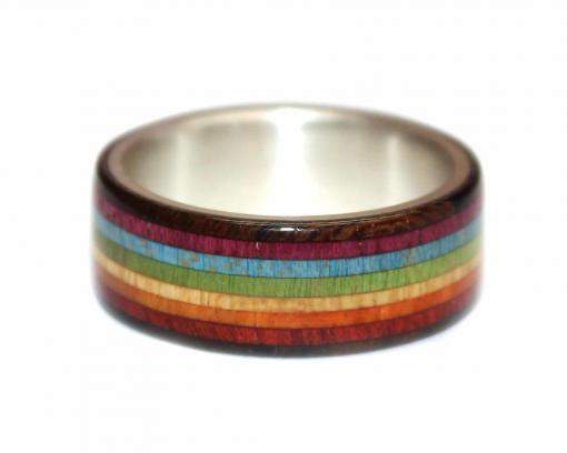 rainbow pride wooden ring