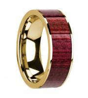 14k yellow gold and purpleheart wooden ring