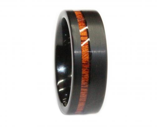 black tungsten brushed with kona koa inlay