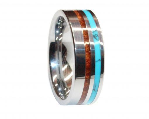 polished tungsten with deer antler, turquoise and koa wood