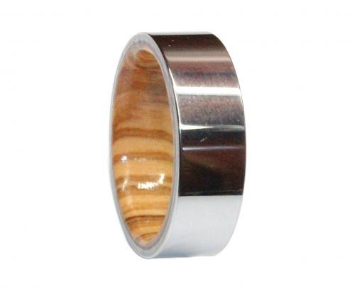 tungsten and olivewood wooden wedding ring