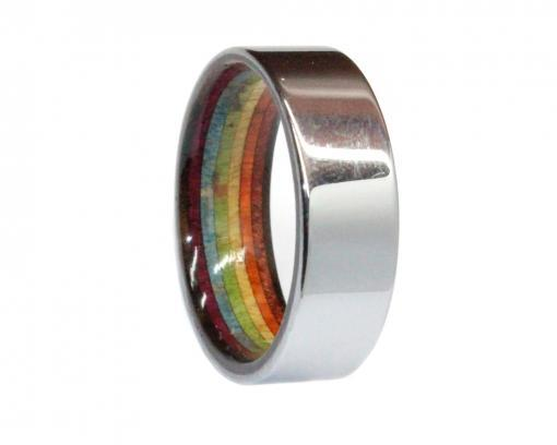 tungsten and rainbow woods wooden wedding ring