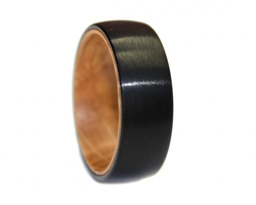 whisky barrel oak and black tungsten wooden ring