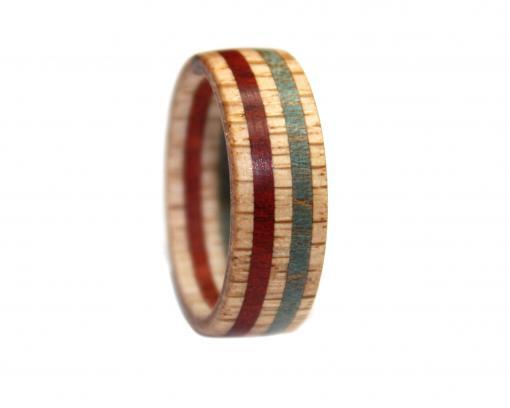 usa flag red white blue wooden rings