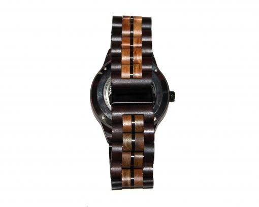 wood watch brown ebony and lignum vitae large self winding band