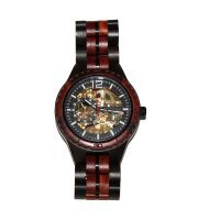 wood watch brown ebony and red sandalwood large self winding