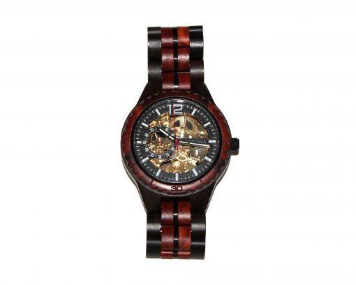 wood watch brown ebony and red sandalwood large self winding