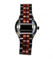 wood watch brown ebony and red sandalwood large self winding back