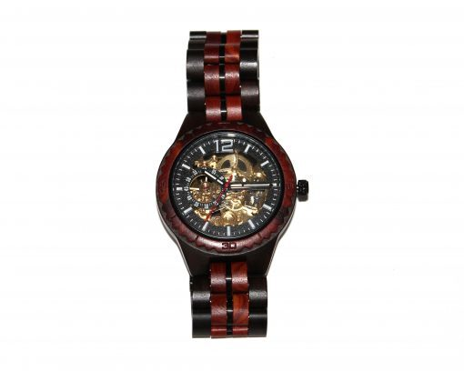 wood watch brown ebony and red sandalwood small self winding
