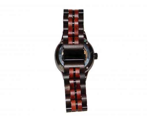 wood watch brown ebony and red sandalwood small self winding band