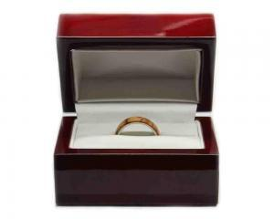 wooden ring box made of rosewood for wedding ring or engagement ring box