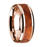 14k rose gold and amboyna burl wood ring