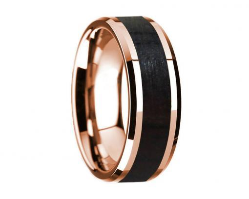 14k rose gold blackwood wooden ring